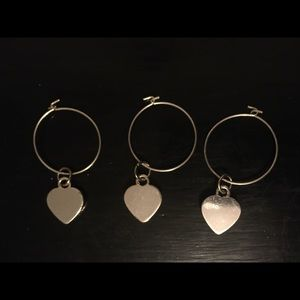 3 Heart Charm Pendants